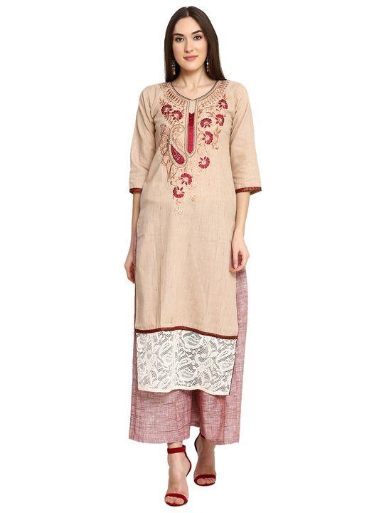 Aujjessa Brown Khadi Plazzao Suit Set