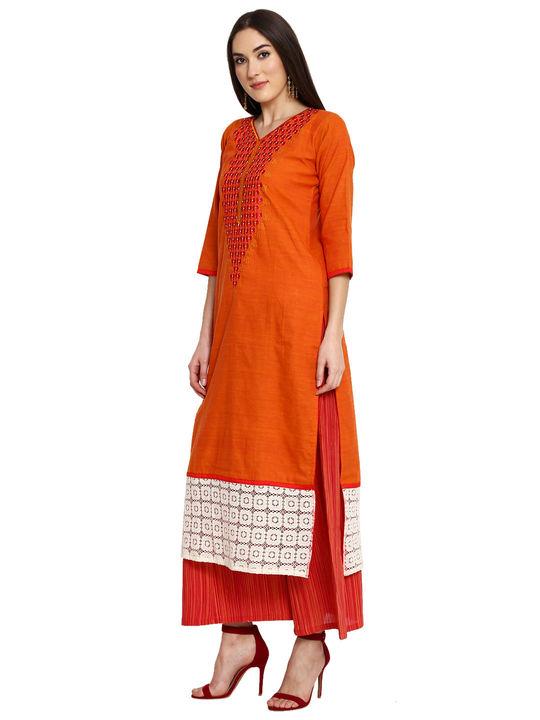 Aujjessa Orange Red Khadi Plazzao Suit Set