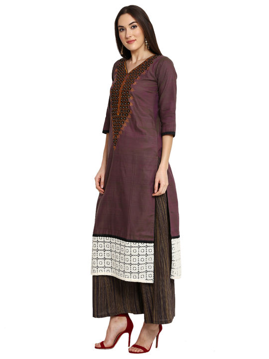 Aujjessa Brown Black Khadi Plazzao Suit Set
