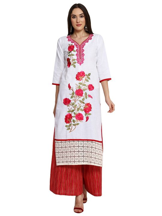 Aujjessa White Red Khadi Plazzao Suit Set