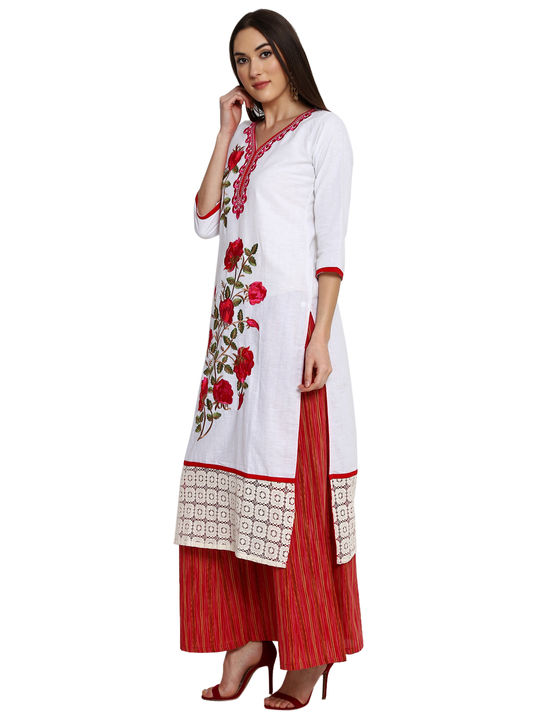 Aujjessa White Red Khadi Plazzao Suit Set