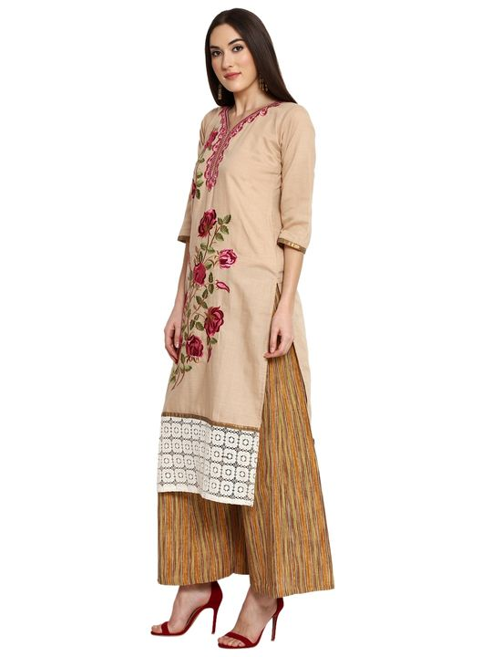 Aujjessa Beige Brown Khadi Plazzao Suit Set