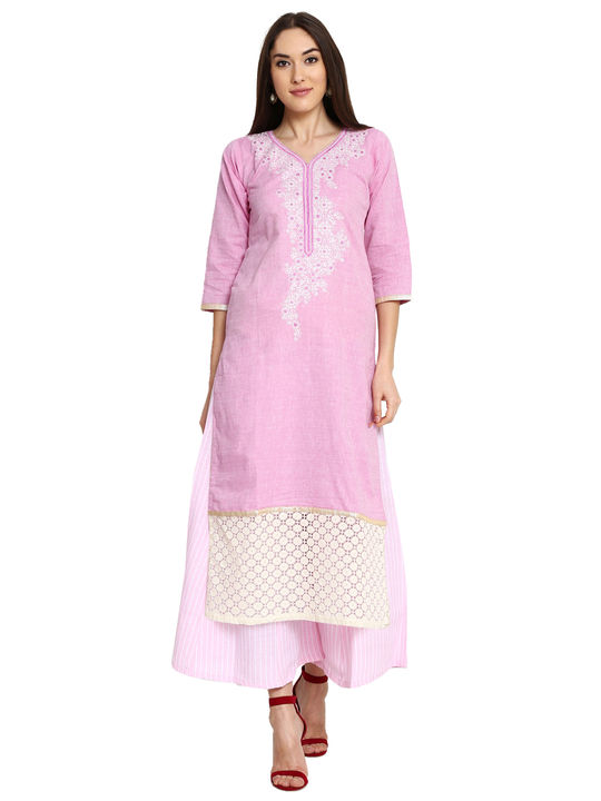Aujjessa Purple Pink Khadi Plazzao Suit Set