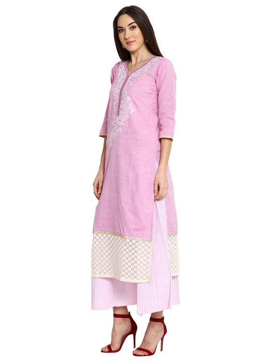 Aujjessa Purple Pink Khadi Plazzao Suit Set