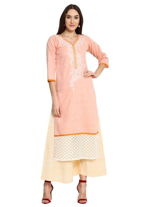 Aujjessa Orange Yellow Khadi Plazzao Suit Set