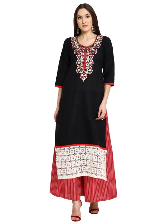 Aujjessa Black Red Khadi Plazzao Suit Set
