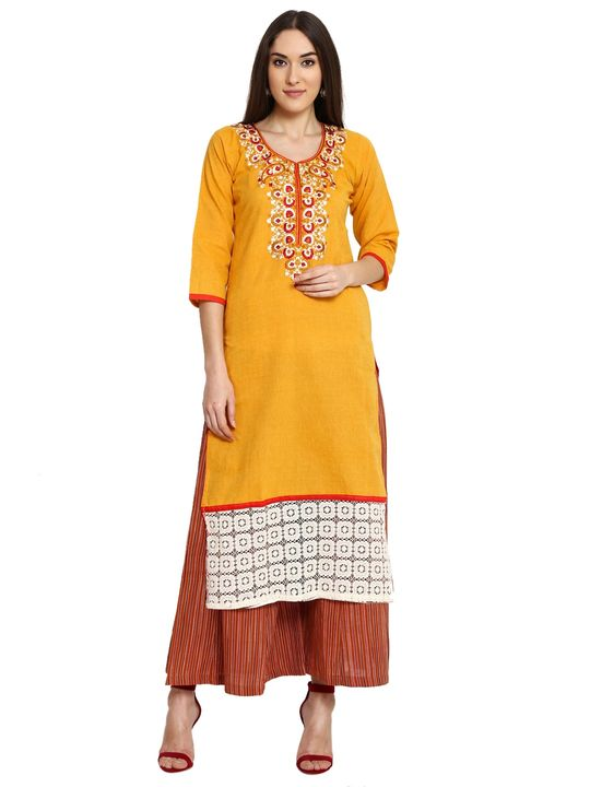 Aujjessa Mustard Brown Khadi Plazzao Suit Set