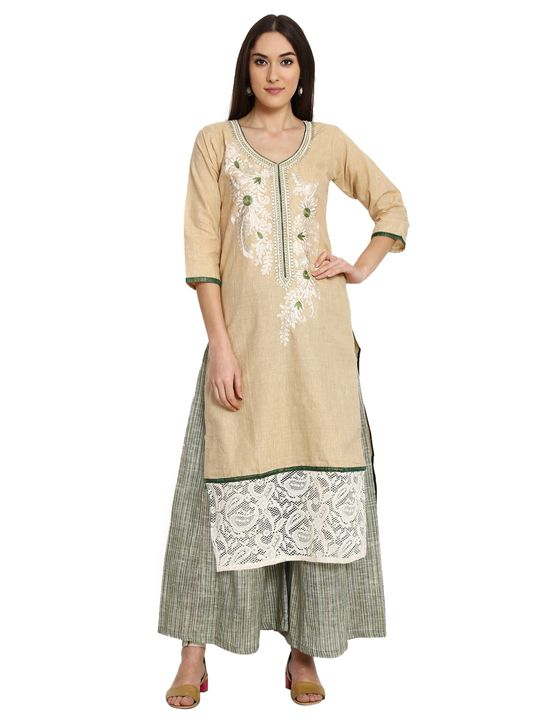 Aujjessa Faun Green Khadi Plazzao Suit Set