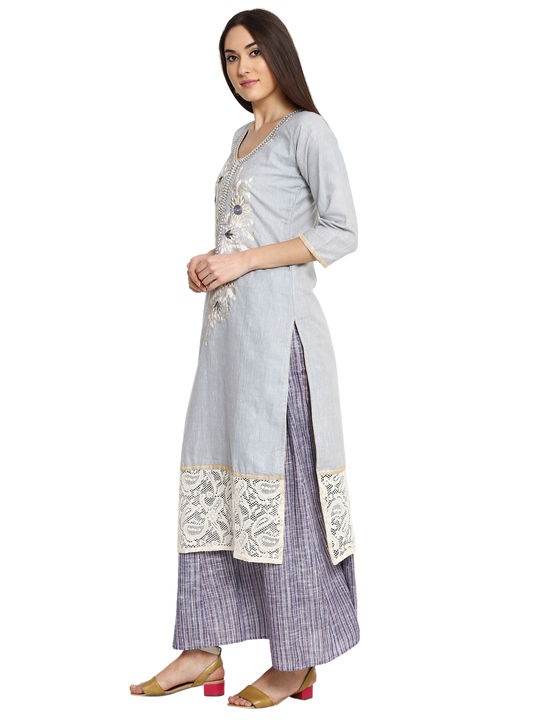 Aujjessa Grey Blue Khadi Plazzao Suit Set
