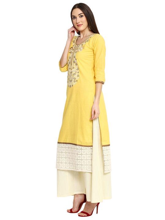 Aujjessa Yellow Khadi Plazzao Suit Set
