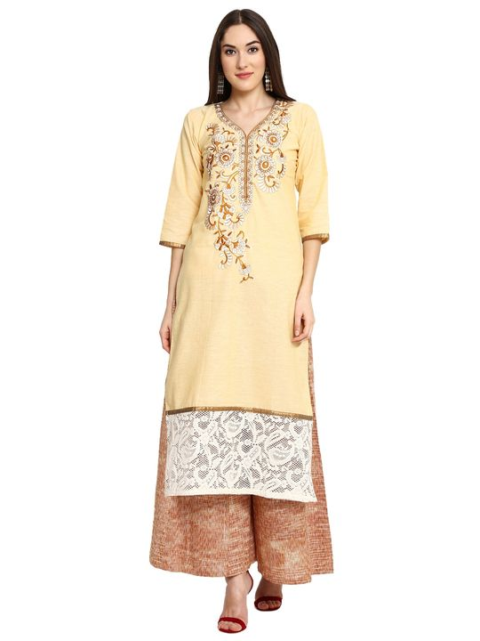 Aujjessa Yellow Khadi Plazzao Suit Set