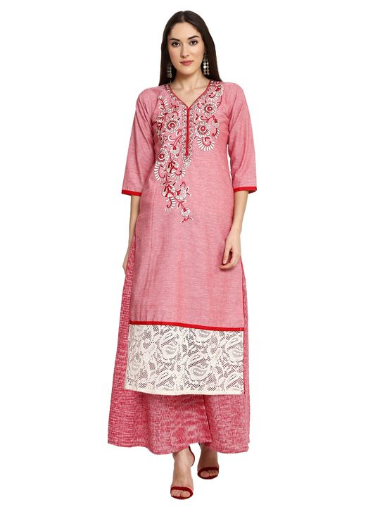 Aujjessa Red Khadi Plazzao Suit Set