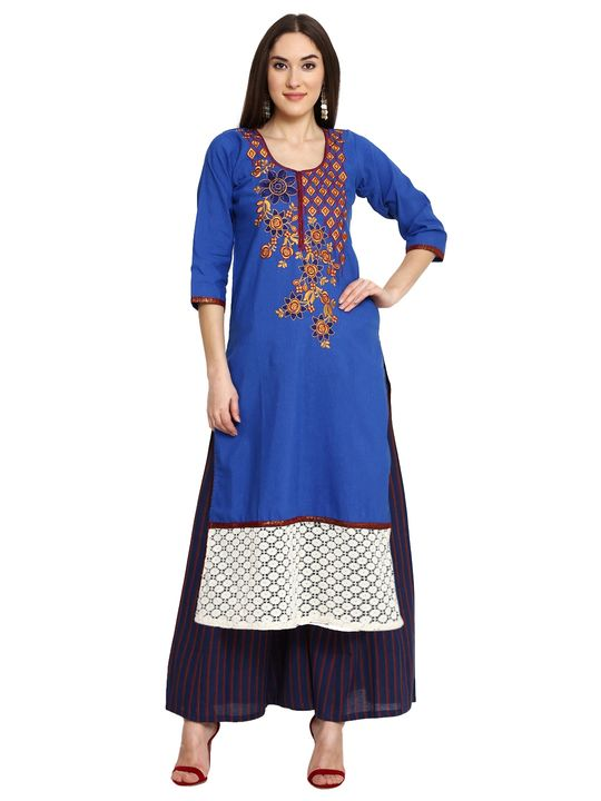 Aujjessa Royal Blue Khadi Plazzao Suit Set