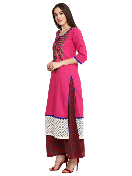 Aujjessa Fuschia Khadi Plazzao Suit Set