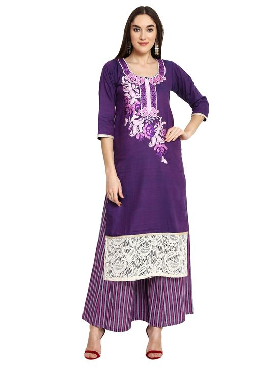 Aujjessa Purple Khadi Plazzao Suit Set