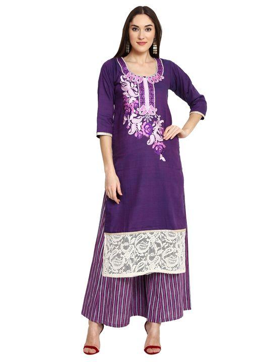 Aujjessa Purple Khadi Plazzao Suit Set