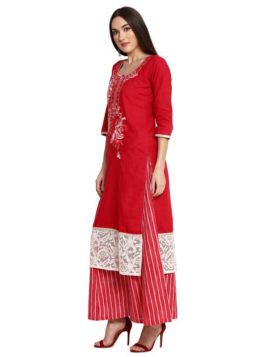 Aujjessa Red Khadi Plazzao Suit Set