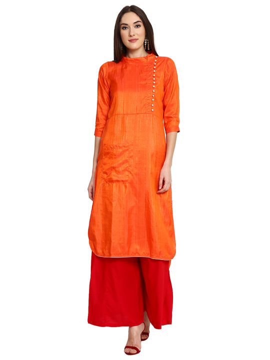 Aujjessa Orange High Low Plazzao Suit Set