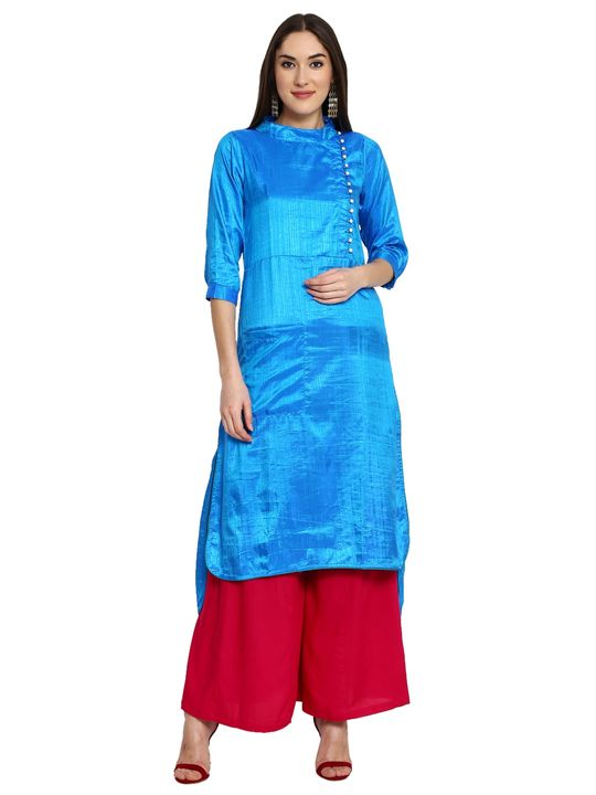 Aujjessa Royal Blue High Low Plazzao Suit Set