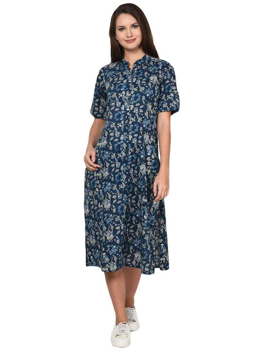 Aujjessa Indigo Printed Cotton Dress