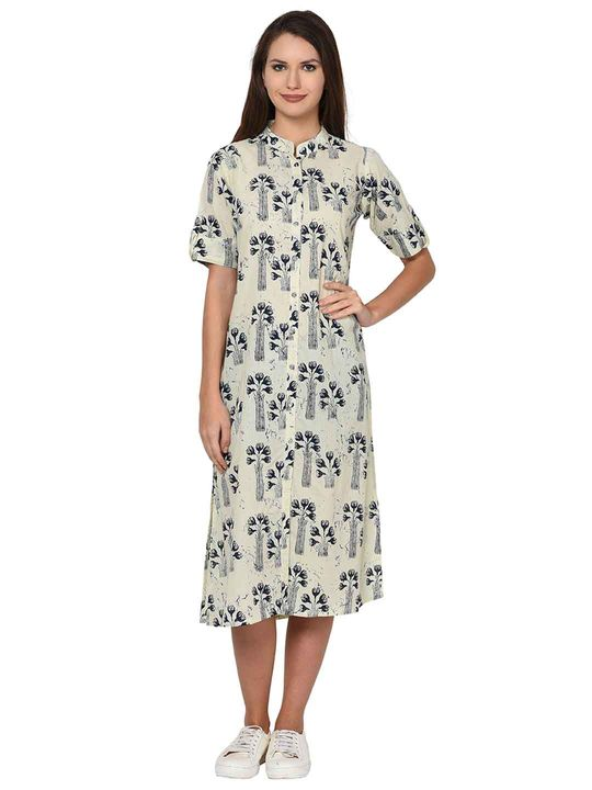 Aujjessa Cream Indigo Printed Cotton Dress