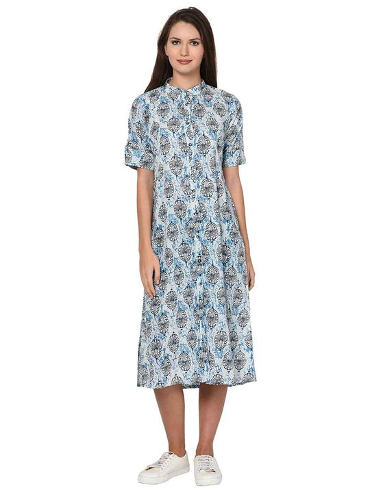 Aujjessa White Indigo Printed Cotton Dress