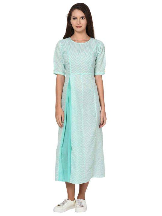 Aujjessa Fit & Flare White Mint Green Dress