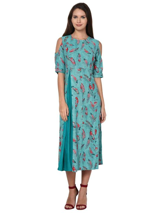 Aujjessa Fit & Flare Cold Shoulder Sea Green Multi Dress