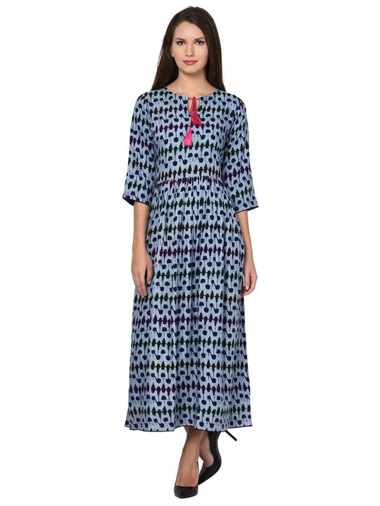 Aujjessa Bohemian Women Gathered Slit Neck Dress