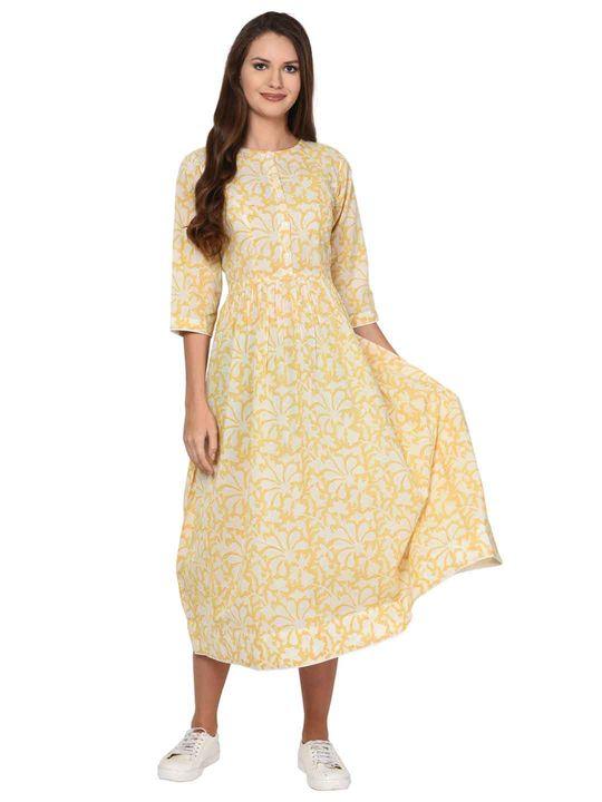 Aujjessa Gathered White Yellow Dress