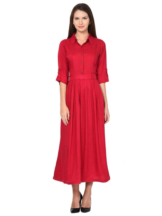 Aujjessa Rayon Maroon Gathered Dress