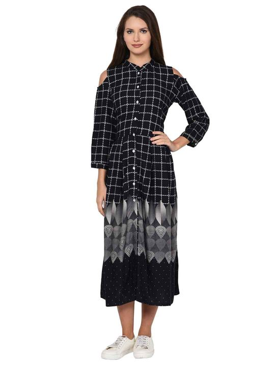 Aujjessa Box Pleated Indigo Dress