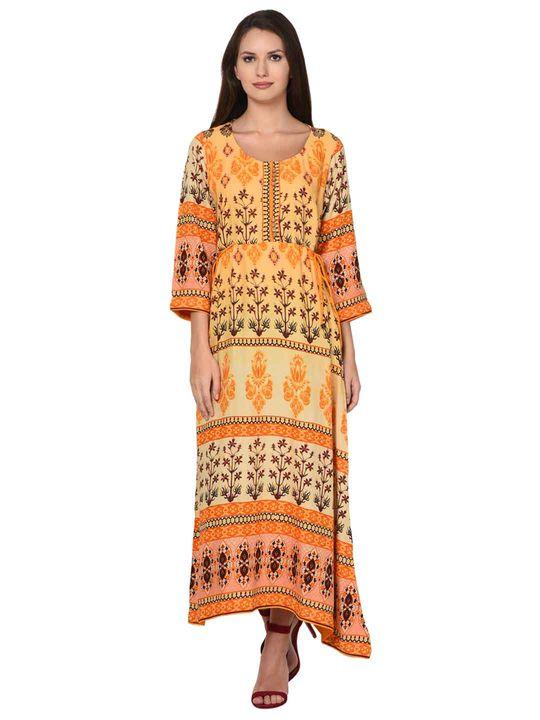 Aujjessa Yellow Multi A-Line Dress
