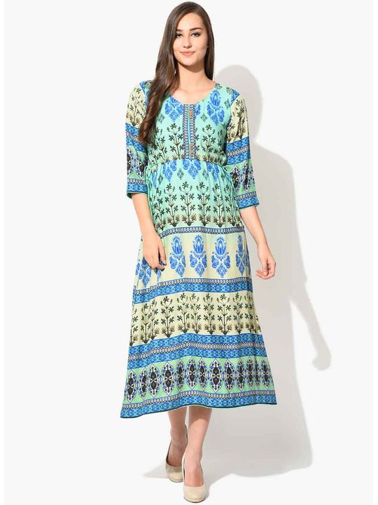 Aujjessa Green Blue Multi A-Line Dress