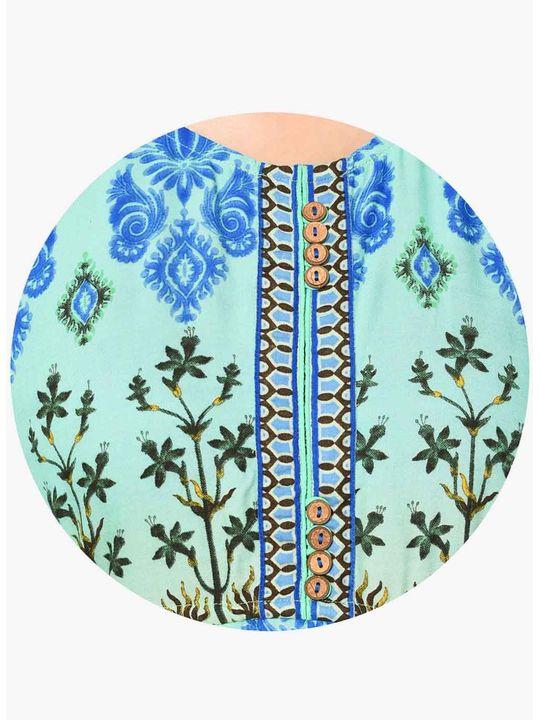 Aujjessa Green Blue Multi A-Line Dress