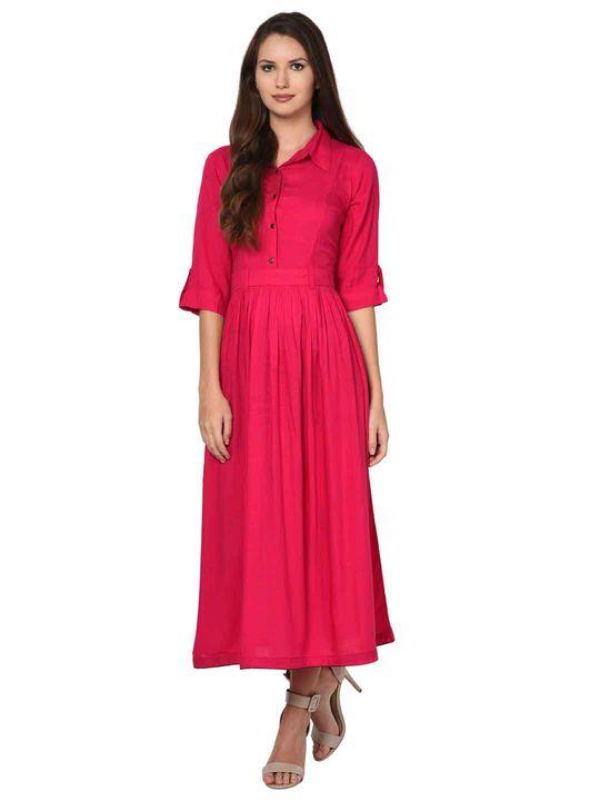 Aujjessa Rayon Fuschia Gathered Dress
