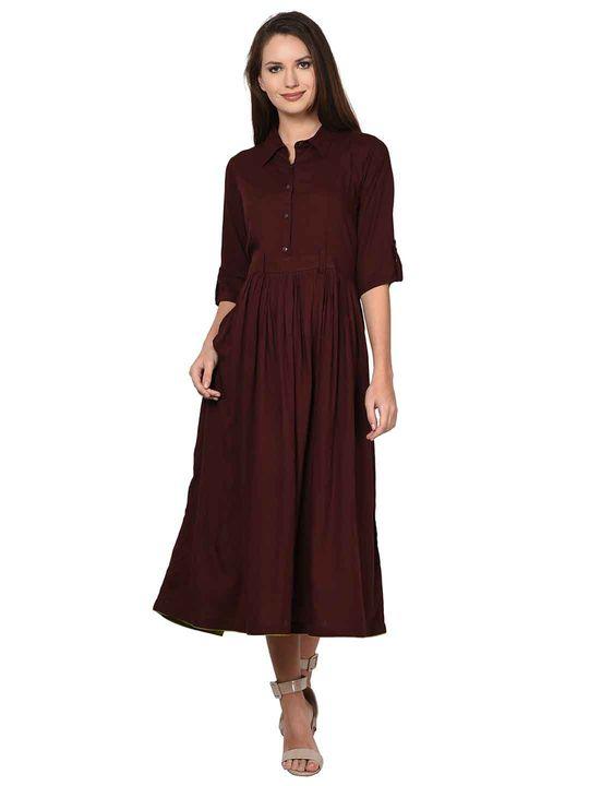 Aujjessa Rayon Brown Gathered Dress