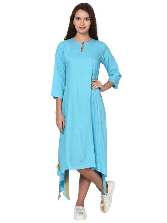 Aujjessa Mint Blue Boho Side Slit Asymmetrical Dress