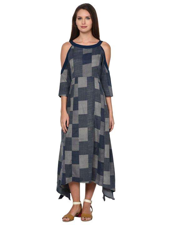 Aujjessa Indigo Boho Cold Shoulder Dress