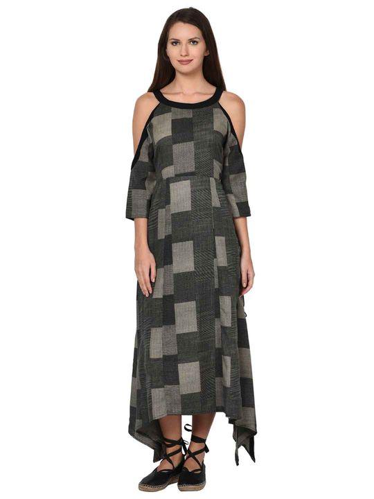 Aujjessa Black Grey Boho Cold Shoulder Dress