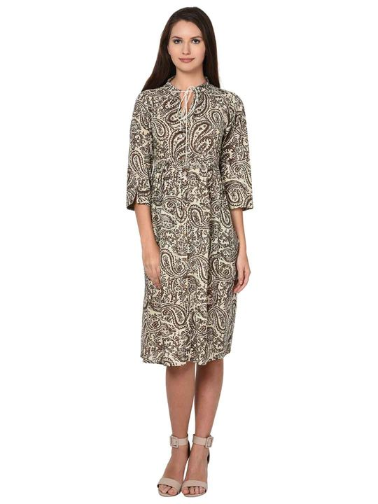 Aujjessa Faun Brown Cotton Gathered Dress