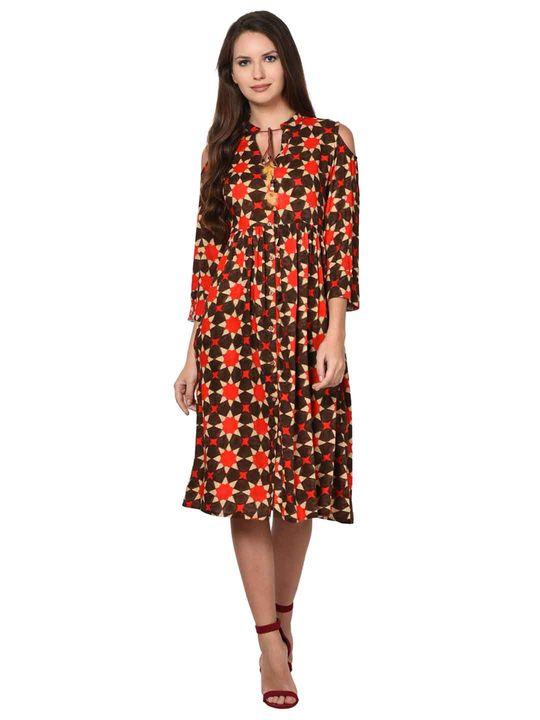 Aujjessa Brown Multi Rayon Cold Shoulder Gathered Dress