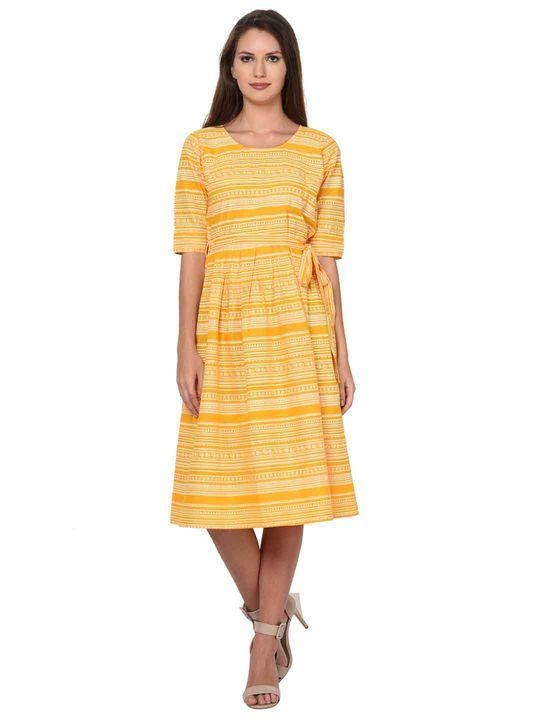 Aujjessa Yellow White Cotton Pleated Dress