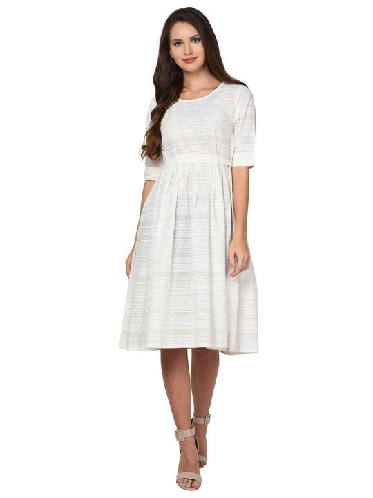 Aujjessa White Cotton Pleated Dress