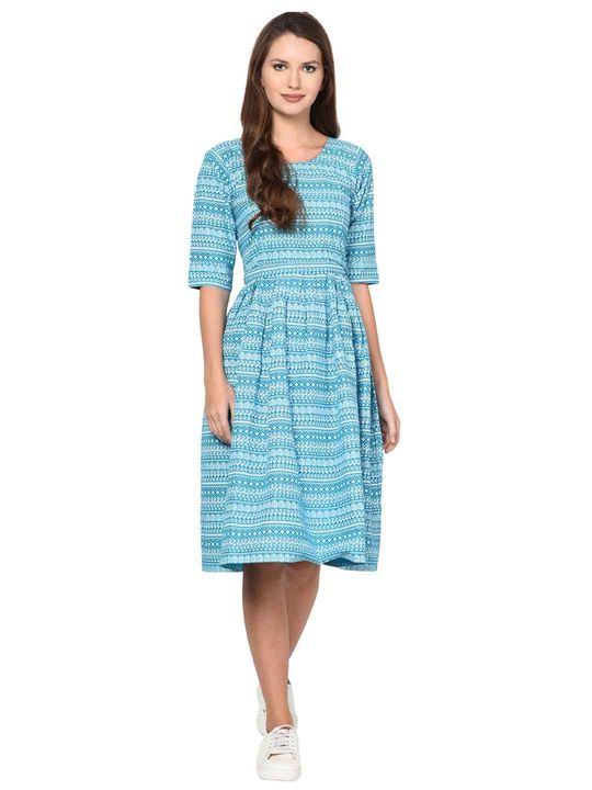 Aujjessa Turquoise White Cotton Pleated Dress