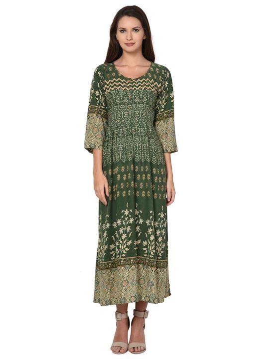Aujjessa Olive Green Flared Pleated Dress
