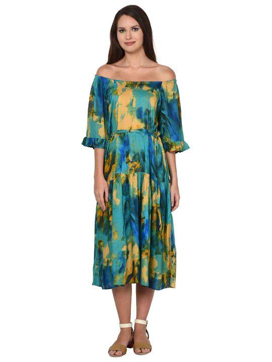 Aujjessa Sea Green Multi Tiered Dress