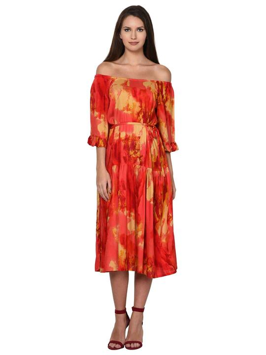 Aujjessa Coral Multi Tiered Dress