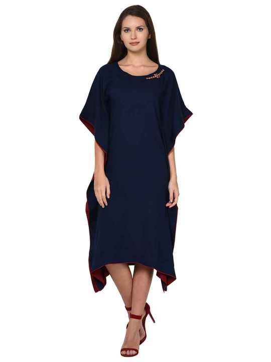 Aujjessa Navy Blue Kaftan Dress