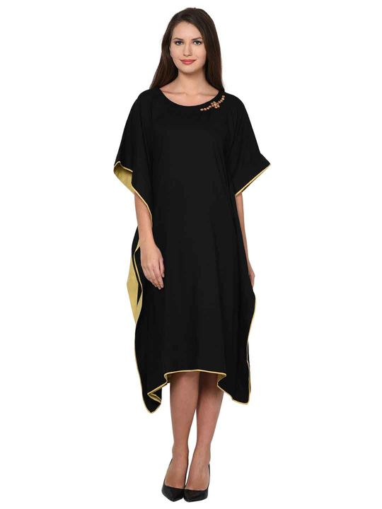 Aujjessa Black Kaftan Dress